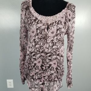 I.N.C. blouse, size 6, jeweled neck with keyhole